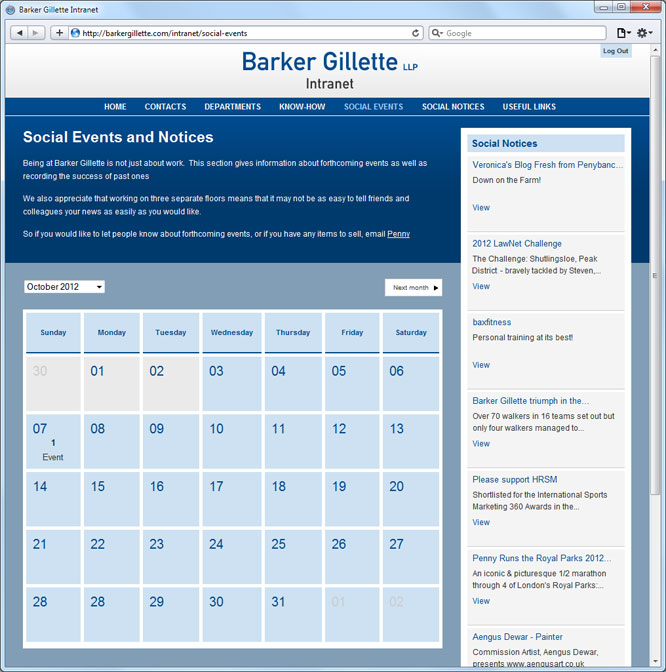 Barker Gillette Intranet Web Design