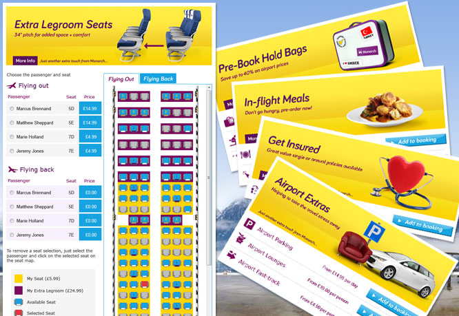 Monarch Airlines booking path upsell