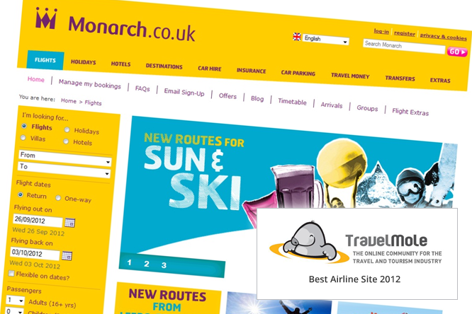 Monarch wins Best Airline Website award