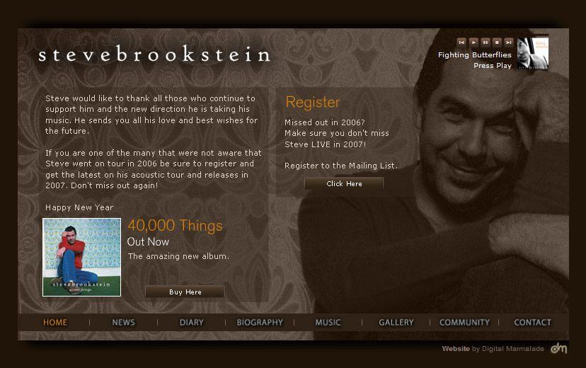 Screenshot of the new Steve Brookstein website