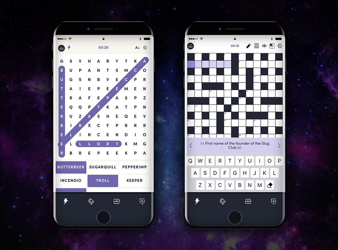 The Wizarding World word search and crossword puzzles displayed on mobile devices