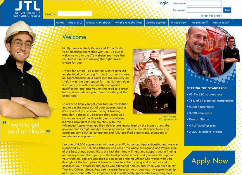 JTL - Young Person site welcome page