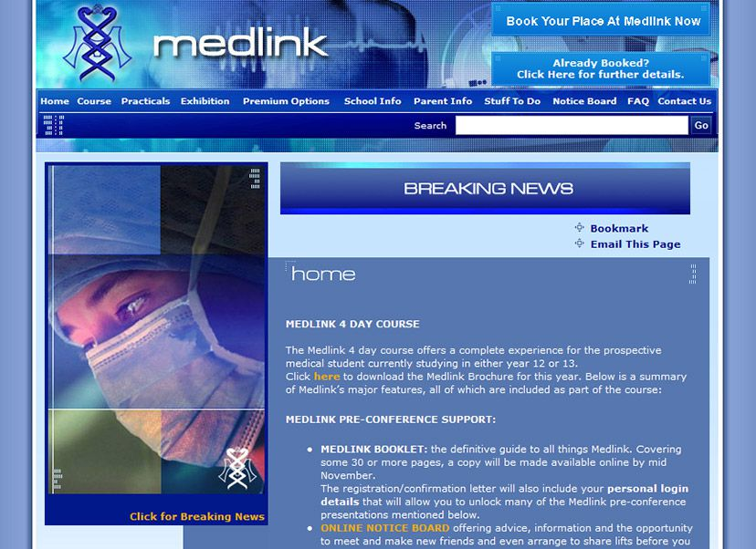 Medlink website screen shot