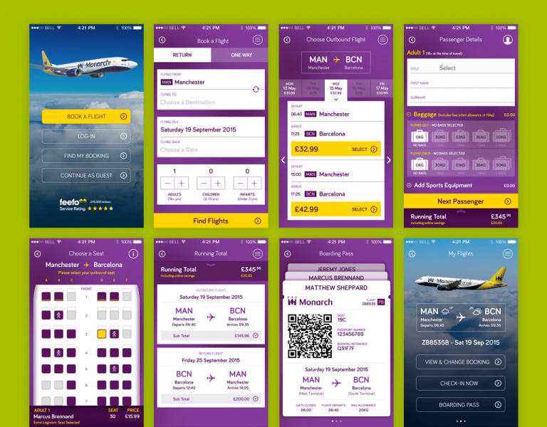 Key Screens from the Monarch Airlines Smartphone App