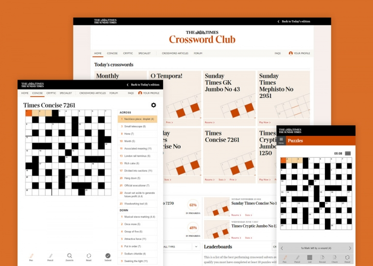 Screenshot from The Times Crossword Club Website