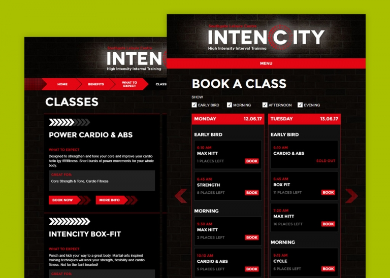 Screens from the Intencity Booking Path