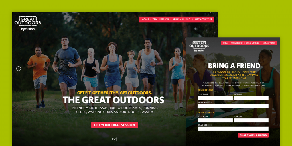 Screenshot of the Great Outdoors Website