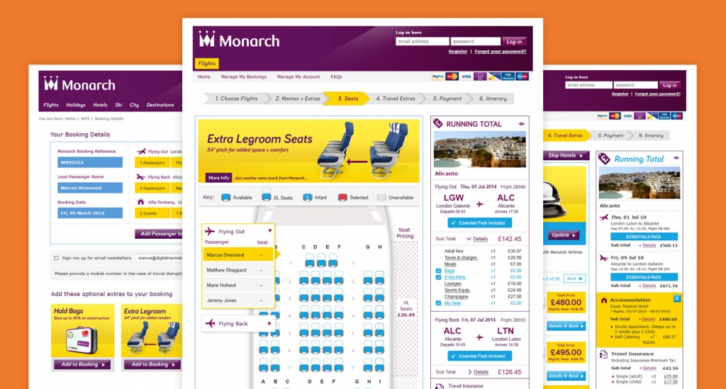 Screenshot from the Monarch Airlines Booking Path