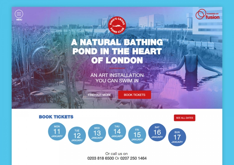 Screenshot of the Kings Cross Pond Club Website