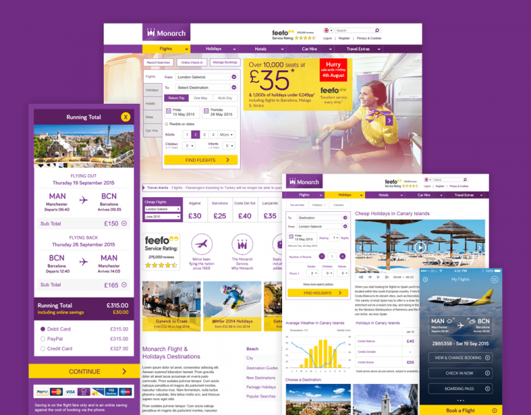 Screenshot of the Monarch Airlines Website