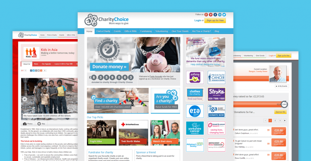 Key screens from the Charity Choice Website