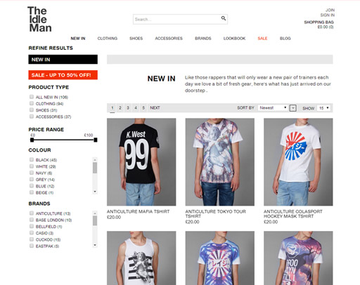 Screenshot of the Amby Online Shop