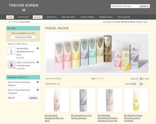 Screenshot from the Trevor Sorbie Online Shop