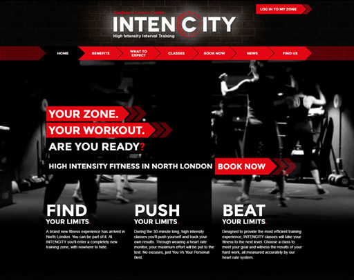 Screenshot of Intencity Website