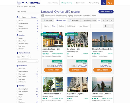 Screenshot of the Miki Travel Website
