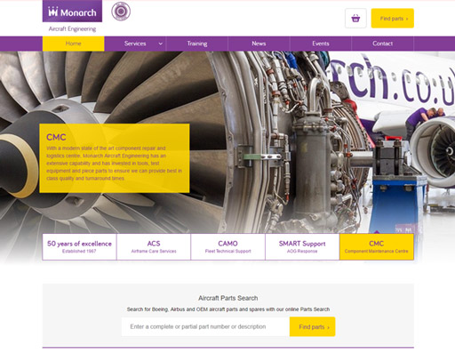 Screenshot of Monarch Aircraft Engineering Website