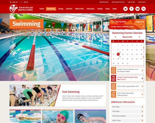 Screenshot of the Swim Wales Website
