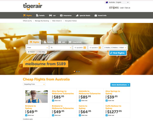 Screenshot of Tigerair Website